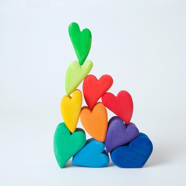 Rainbow Hearts Building Set, Grimm's, KEKA TOYS