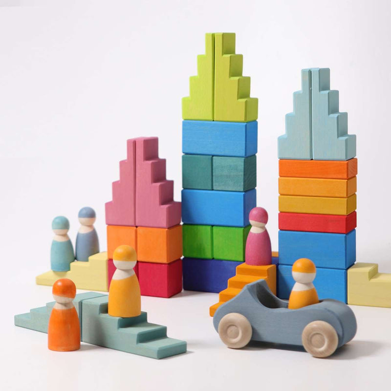Pastel Stepped Roofs, Grimm's, KEKA TOYS