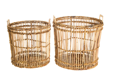 Set Of Two Natural Banana Jawit Baskets