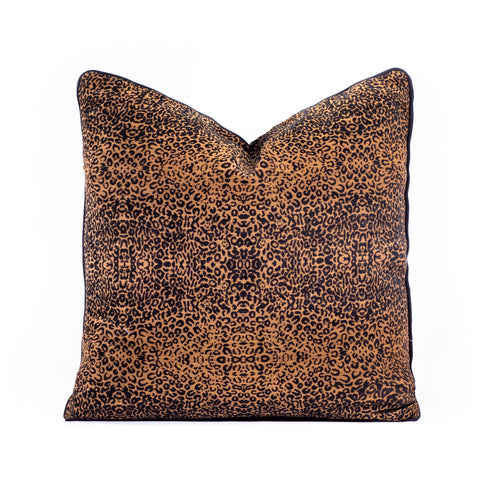 Leopard Print Cushion – Small Print with Piping