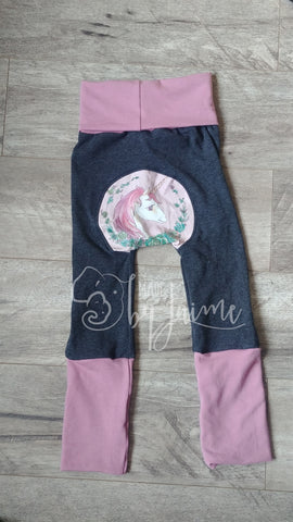 Bum Pants - charcoal unicorn 6m-3T