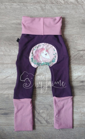 Bum Pants - eggplant unicorn 6m-3T