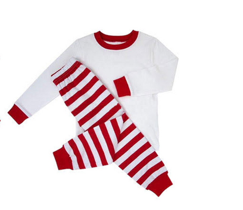 PREORDER - Premade Christmas PJs (White with Stripes)