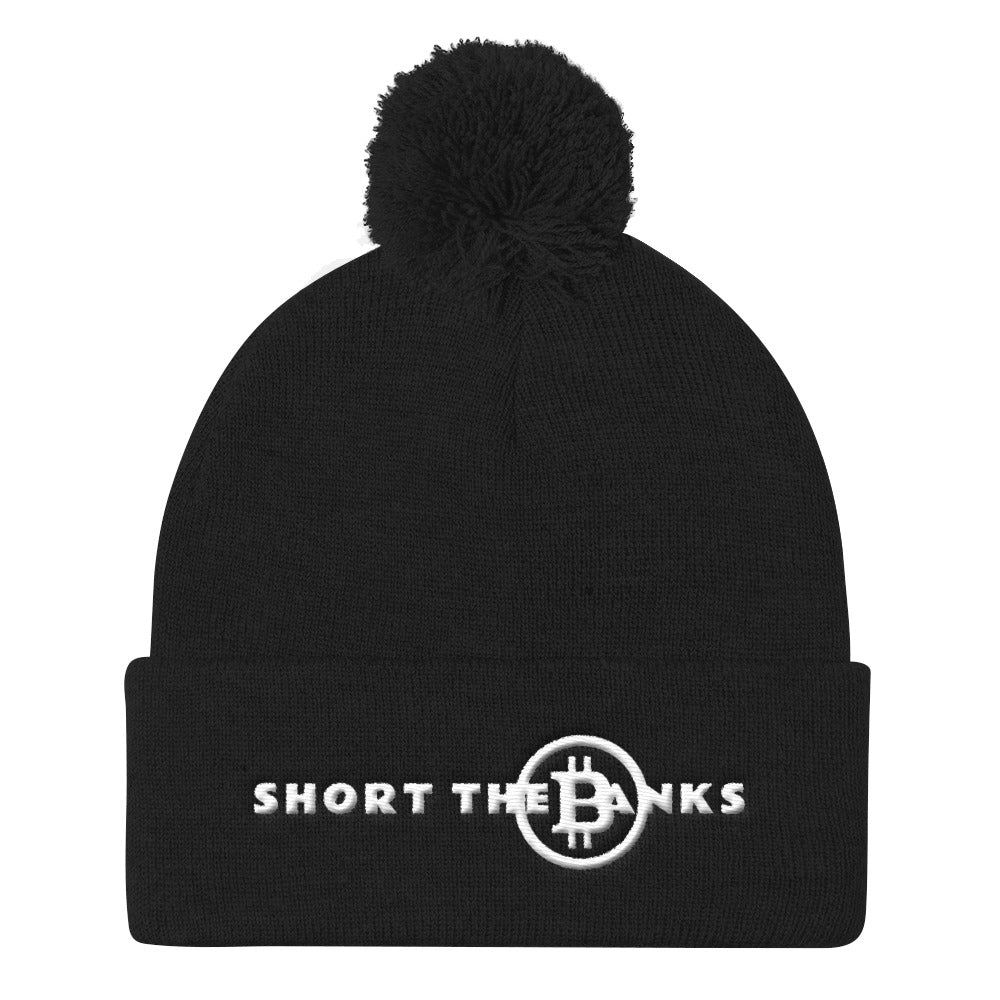 Short The Banks White Logo Pom Pom Knit Cap