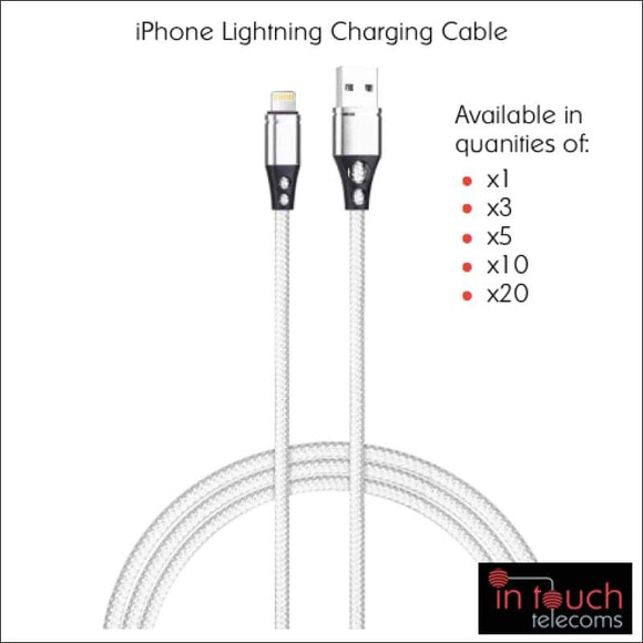 2x Lightning Nylon Braided Charging Cable for iPhone | 1 Metre | In Touch Telecoms Ltd