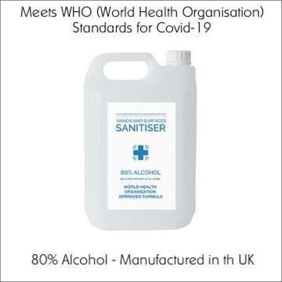 5L 80% Alcohol Hand Sanitiser | Meets the WHO Standards for Covid-19 | In Touch Telecoms Ltd