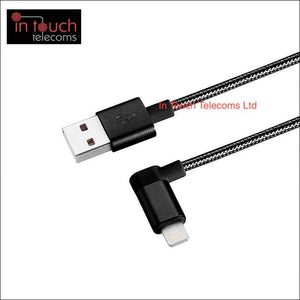 Lightning Right Angle Braided Charger 1.2M - iPhone Charger (Black) | In Touch Telecoms Ltd