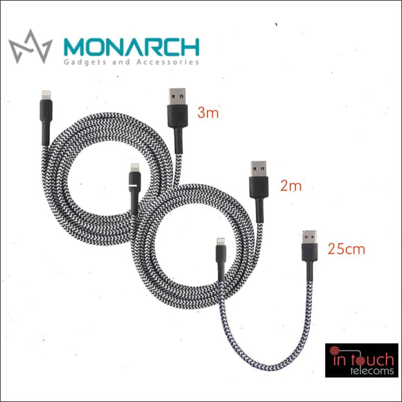 Monarch Braided Lightning Charging Cable for iPhone Pack | 0.25, 2 & 3 Metres | In Touch Telecoms Ltd