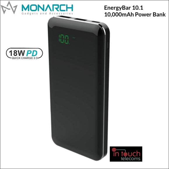 Monarch EnergyBar 10.1 Power Bank 10000mAh Capacity | 18W/3A Fast Charge | In Touch Telecoms Ltd