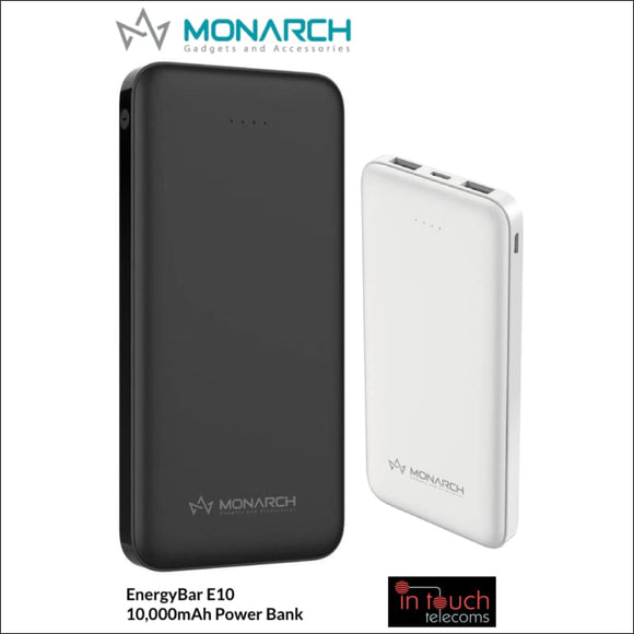 Monarch EnergyBar E10 Power Bank 10000mAh Capacity | Fast Charge | In Touch Telecoms Ltd