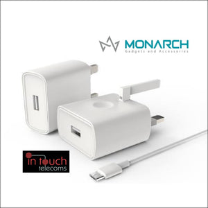 Monarch Gadgets Fast 5V 2A USB Home Charger with 1m Lightning Cable | In Touch Telecoms Ltd