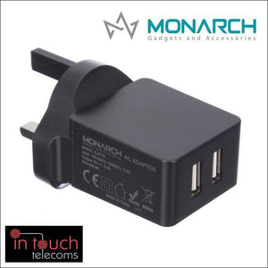 Monarch Gadgets Fast 5V 3.4A Dual USB Home Charger | iPhone and Samsung | In Touch Telecoms Ltd