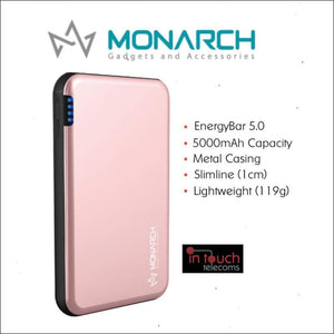 Monarch Gadgets Metal 5000mAh Rechargeable Power Bank | Fast Charge | In Touch Telecoms Ltd