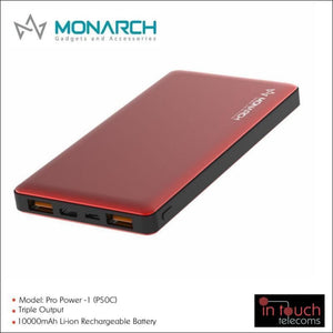 Monarch Gadgets Pro Power-1 (P50C) Power Bank with Triple Output 10000mAh | In Touch Telecoms Ltd