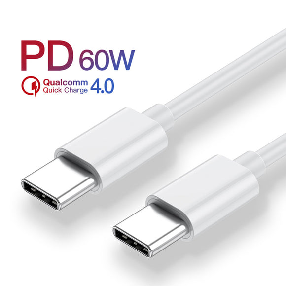 USB Type-C PD 60W Fast Qualcomm Charging Cable for Macbook Pro Air Samsung USB Cable | White | In Touch Telecoms Ltd