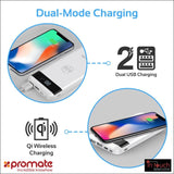Qi Wireless Charging 10000mAh Portable Powerbank - White | Dual Port LED Indicator | In Touch Telecoms Ltd