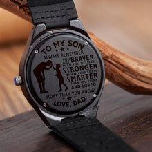 To My Son You Love Dad Engraved Wooden Watch