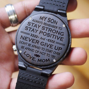 My Son Strong Love Mom Engraved Wooden Watch
