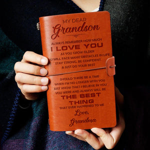 My Dear Grandson Wherever Love From Grandma Engraved Leather Journal Notebook Diary Wedding Quotes Gift Anniversary Birthday Graduation
