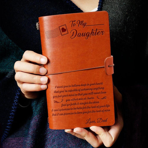 To My Daughter You Love from Dad Engraved Leather Journal Notebook Diary Custom Message Quotes Gift Wedding Anniversary Birthday Graduation