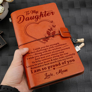 To My Daughter I Wish You From Love Mom Engraved Leather Journal Notebook Diary Custom Wedding Quotes Gift Anniversary Birthday Graduation