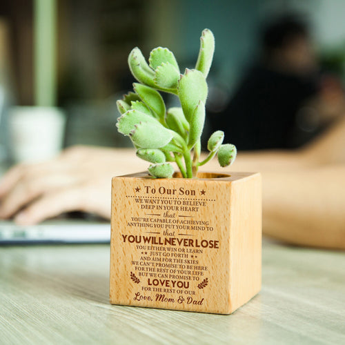 To Our Son Believe Love from Mom & Dad Wooden Engraved Flower Pot Anniversary Birthday Wedding Gift Plant Planter Holder Container