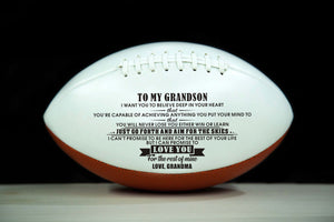 To My Grandson From Grandma Engraved American Football