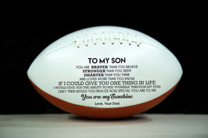 To My Son Sunshine From Dad Engraved American Football