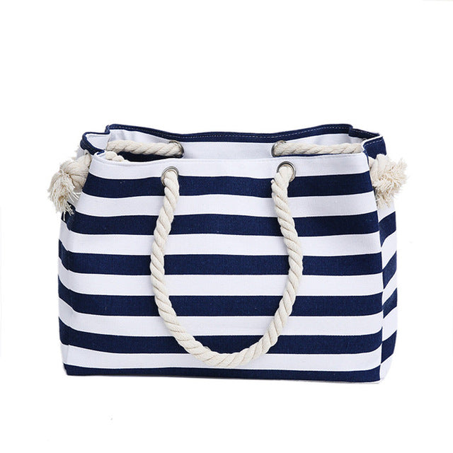 Tote Bags - Navy Striped Canvas - SummerHaus