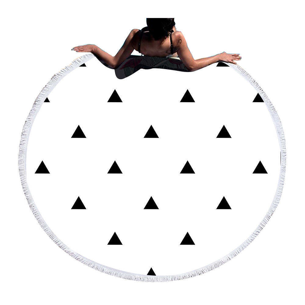 Beach Towel - Black Triangle Round Beach Towel - SummerHaus