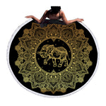 Beach Towel - Golden Elephant Round Beach Towel - SummerHaus
