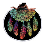 Beach Towel - Iridescent Dreamcatcher Round Beach Towel - SummerHaus