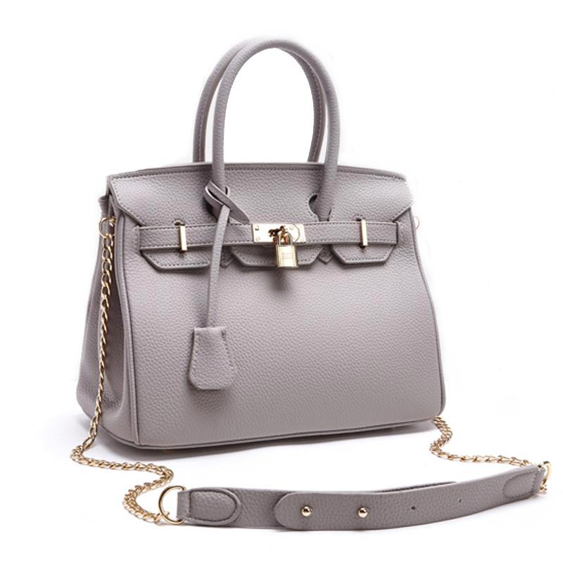 Faux Leather Lock Handbag