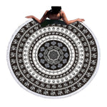 Beach Towel - Black Elephant Round Beach Towel - SummerHaus