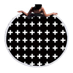 Beach Towel - White Cross Round Beach Towel - SummerHaus
