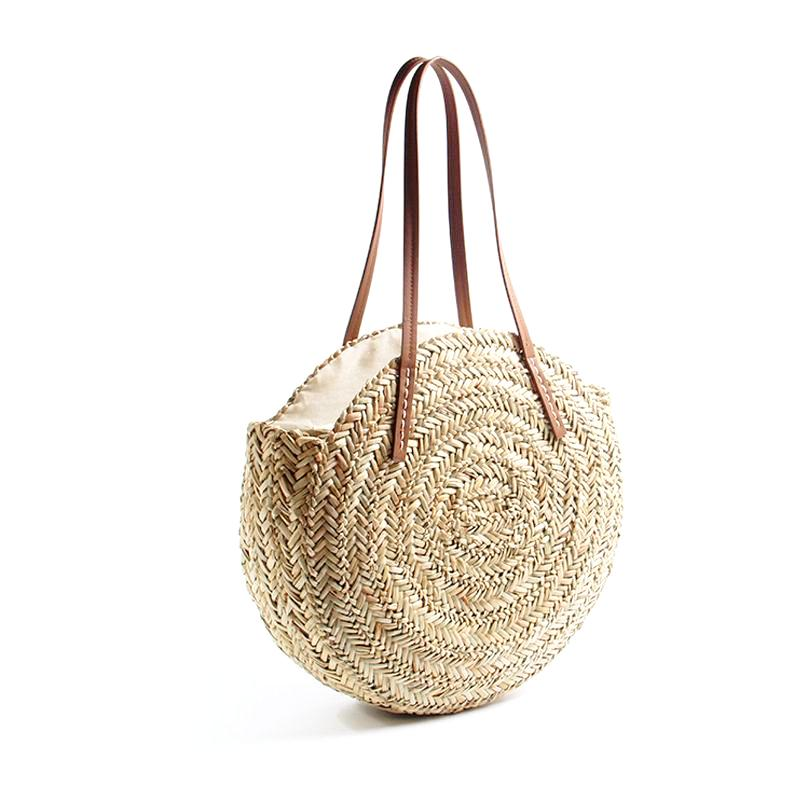 Tote Bags - Moroccan Palm Round Tote - SummerHaus
