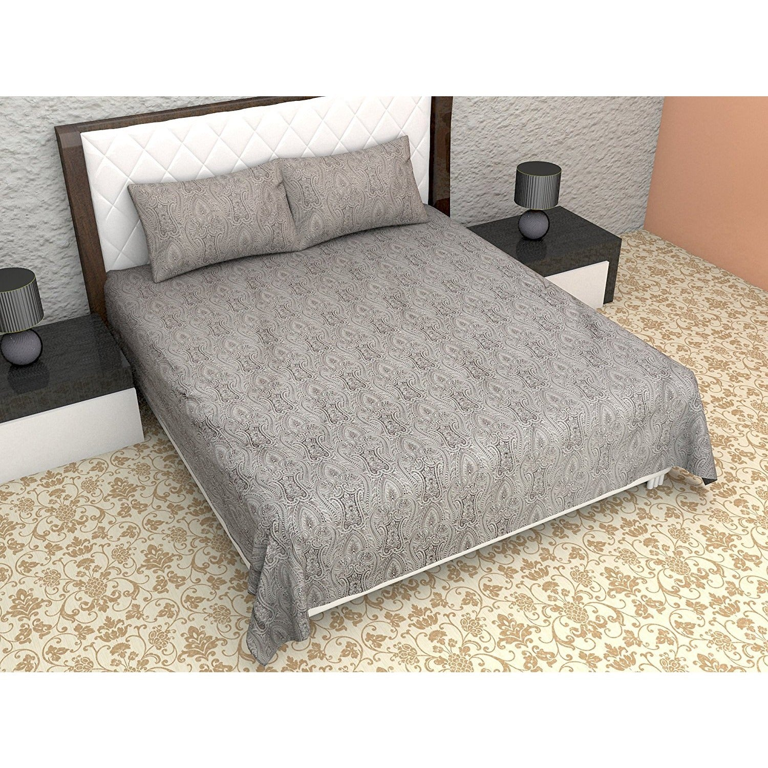 Linenwalas Bedsheets Double   Printed Cotton   300TC With 2 Pillow Covers