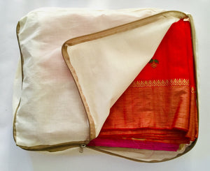 Noyyal Go Green (Bush Elephant) Reusable Cotton Multi Silk Saree Covers with Long Zipper, Set of 5 (5 Bags [13x17x3 inches])