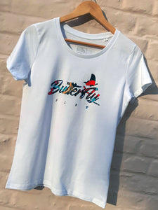 butterfly flow tshirt collaboration with Toska - lady edition - front