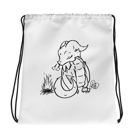 Drawstring bag - Original Design Campfire Dragon - artmallow