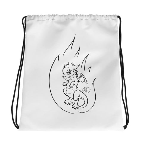 Drawstring bag - Original Design Flame Dragon - artmallow