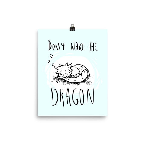 Poster (Blue) - Don't Wake the Dragon - artmallow