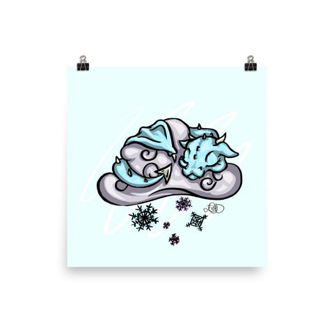 Poster (Blue) - Snow Cloud Dragon - artmallow
