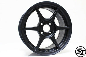 356 Wheels - TFS401 15x7 +35 4x100 67.1 Hub - Set of 4 Wheels - Satin Black