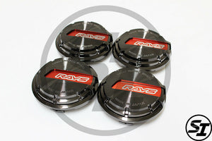 Rays Gramlights - GL Center Caps - For 57DR / 57CR - Black / Red - Set of 4