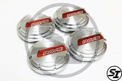 Rays Gramlights - GL Center Caps - For 57DR / 57CR - Silver / Red - Set of 4