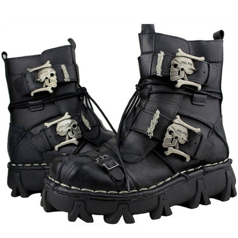 Cowhide Genuine Leather Military Combat Boots. Gothic Style