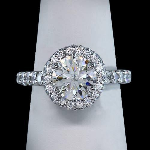 Sparkling round diamond 3 ct. ring halo setting new