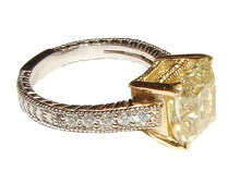 Load image into Gallery viewer, Yellow canary DIAMOND ring antique look new 3 carats