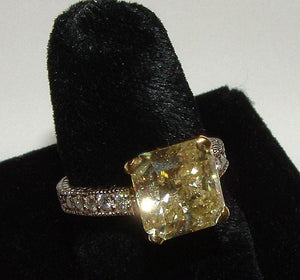 Yellow canary DIAMOND ring antique look new 3 carats